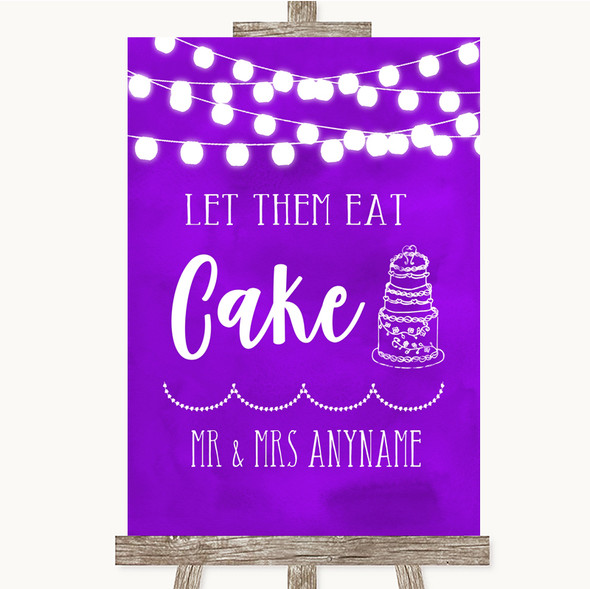 Purple Watercolour Lights Let Them Eat Cake Personalised Wedding Sign