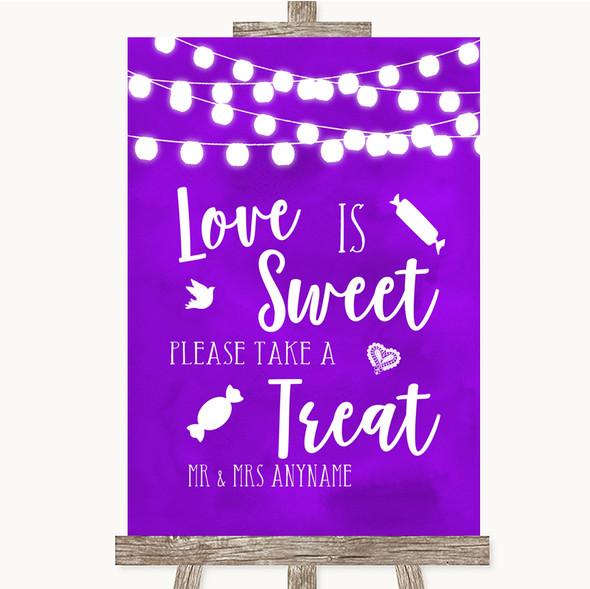 Purple Watercolour Lights Love Is Sweet Take A Treat Candy Buffet Wedding Sign
