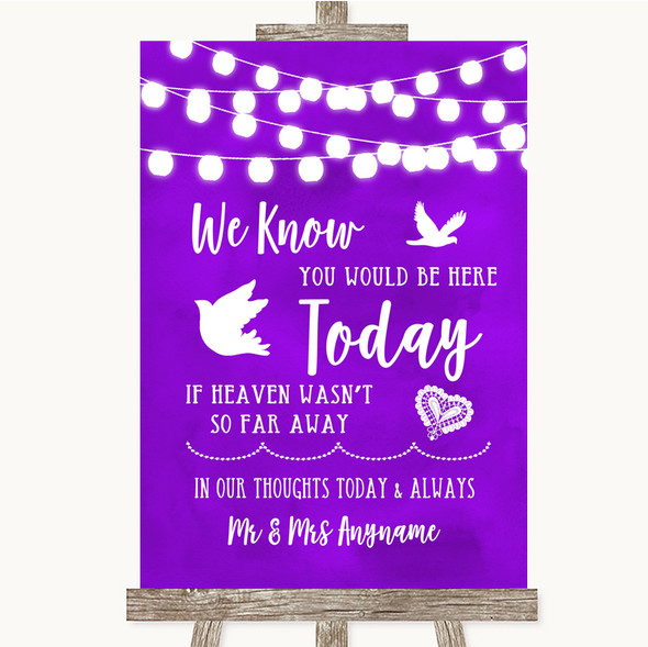 Purple Watercolour Lights Loved Ones In Heaven Personalised Wedding Sign