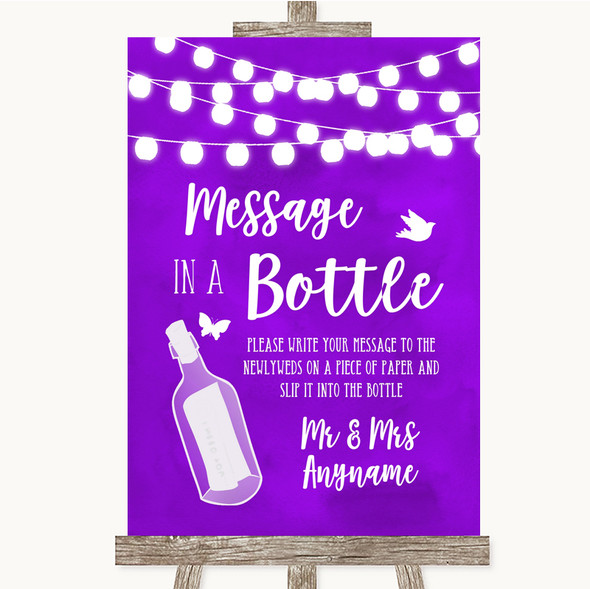 Purple Watercolour Lights Message In A Bottle Personalised Wedding Sign