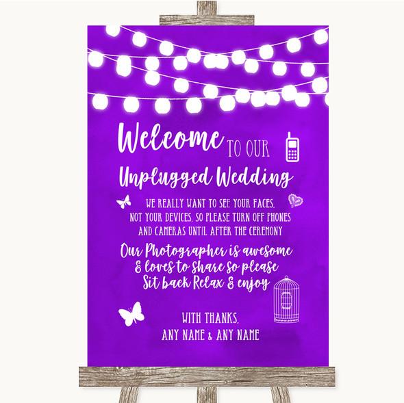 Purple Watercolour Lights No Phone Camera Unplugged Personalised Wedding Sign