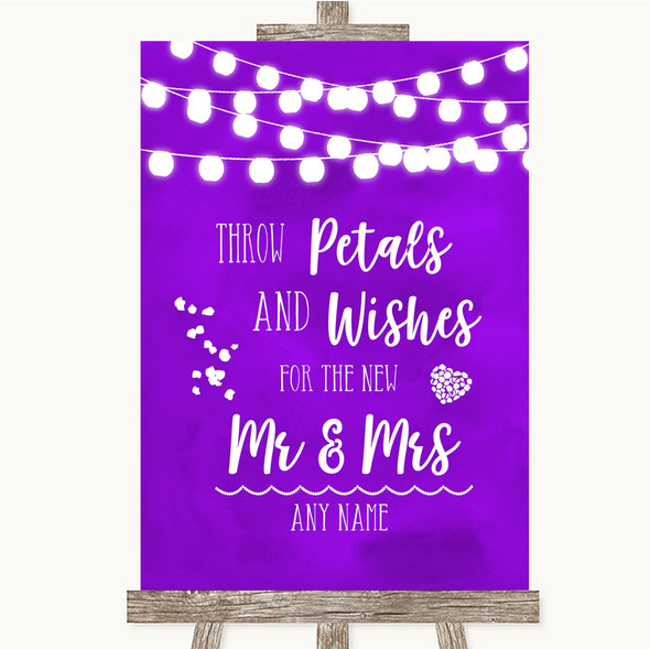 Purple Watercolour Lights Petals Wishes Confetti Personalised Wedding Sign