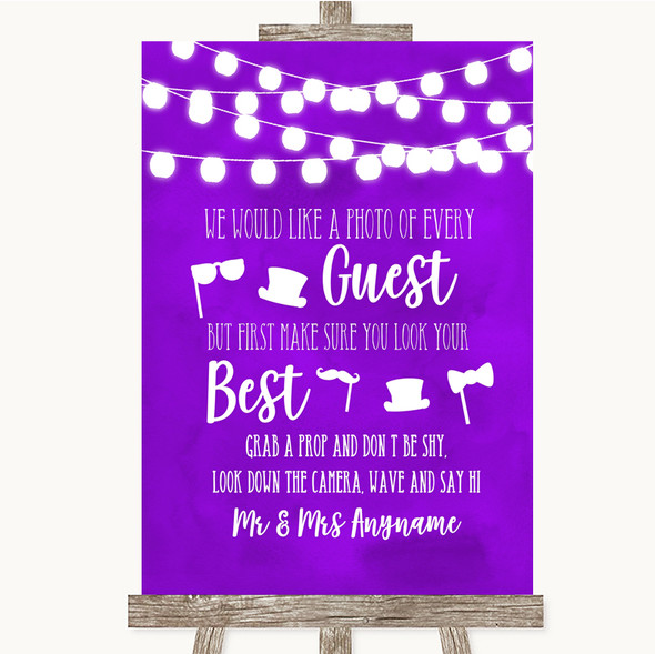 Purple Watercolour Lights Photo Prop Guestbook Personalised Wedding Sign