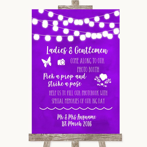 Purple Watercolour Lights Pick A Prop Photobooth Personalised Wedding Sign