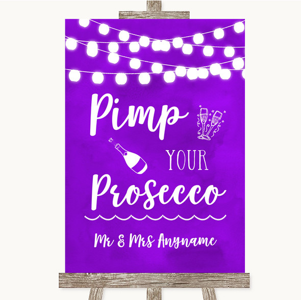 Purple Watercolour Lights Pimp Your Prosecco Personalised Wedding Sign
