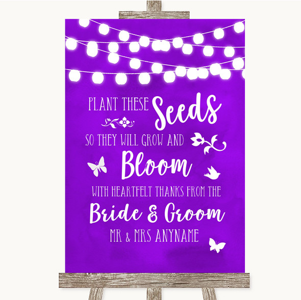 Purple Watercolour Lights Plant Seeds Favours Personalised Wedding Sign