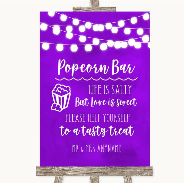 Purple Watercolour Lights Popcorn Bar Personalised Wedding Sign
