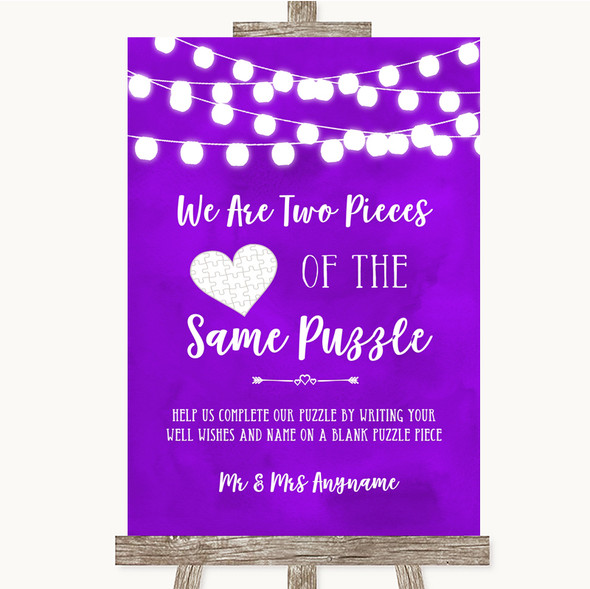 Purple Watercolour Lights Puzzle Piece Guest Book Personalised Wedding Sign