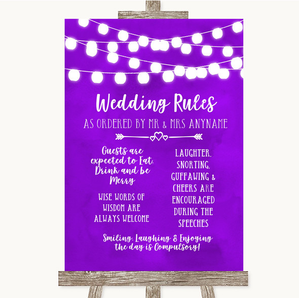 Purple Watercolour Lights Rules Of The Wedding Personalised Wedding Sign