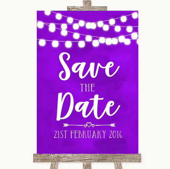 Purple Watercolour Lights Save The Date Personalised Wedding Sign