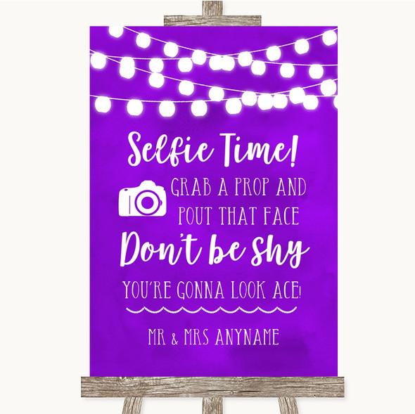 Purple Watercolour Lights Selfie Photo Prop Personalised Wedding Sign