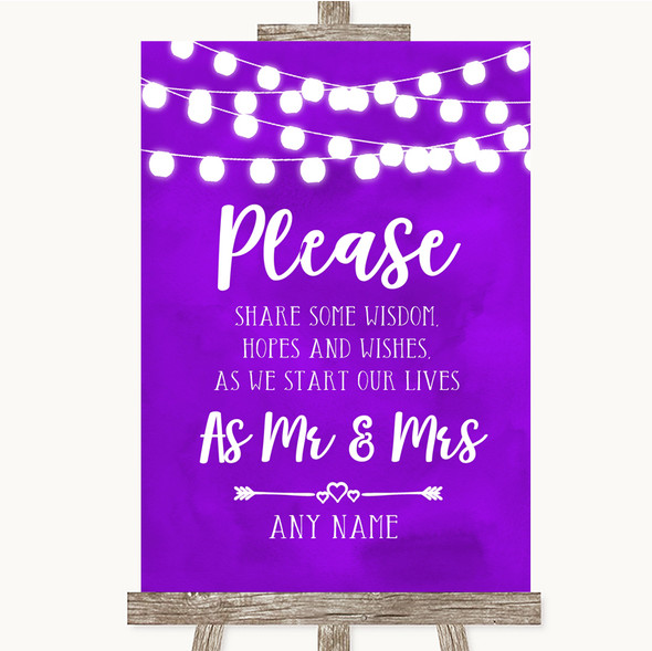 Purple Watercolour Lights Share Your Wishes Personalised Wedding Sign