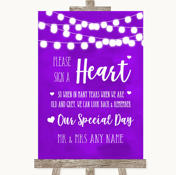Purple Watercolour Lights Sign a Heart Personalised Wedding Sign