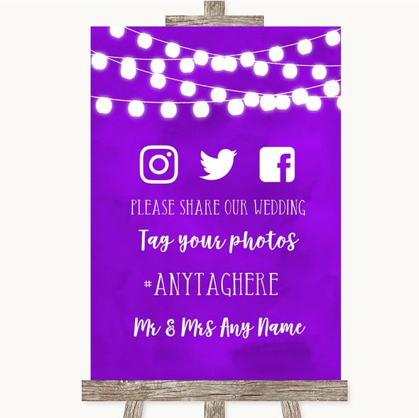 Purple Watercolour Lights Social Media Hashtag Photos Personalised Wedding Sign