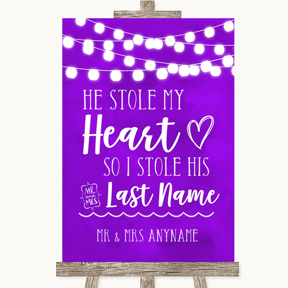 Purple Watercolour Lights Stole Last Name Personalised Wedding Sign