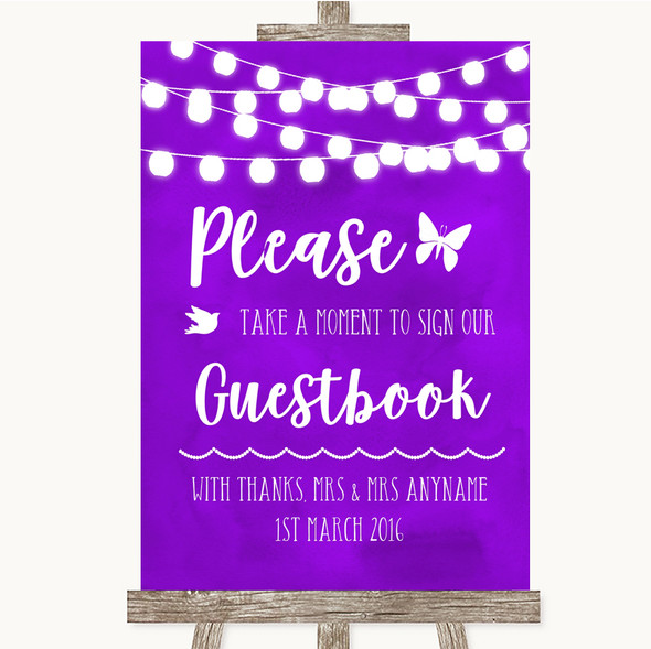 Purple Watercolour Lights Take A Moment To Sign Our Guest Book Wedding Sign