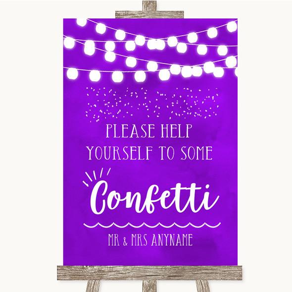 Purple Watercolour Lights Take Some Confetti Personalised Wedding Sign