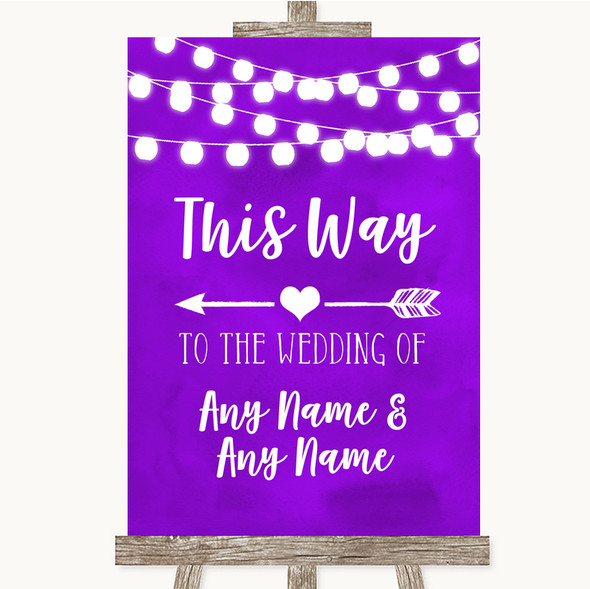 Purple Watercolour Lights This Way Arrow Left Personalised Wedding Sign