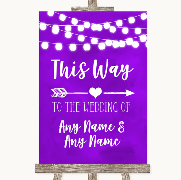Purple Watercolour Lights This Way Arrow Right Personalised Wedding Sign