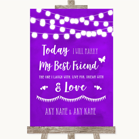 Purple Watercolour Lights Today I Marry My Best Friend Personalised Wedding Sign
