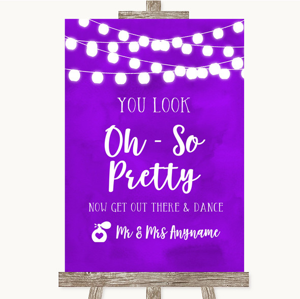 Purple Watercolour Lights Toilet Get Out & Dance Personalised Wedding Sign