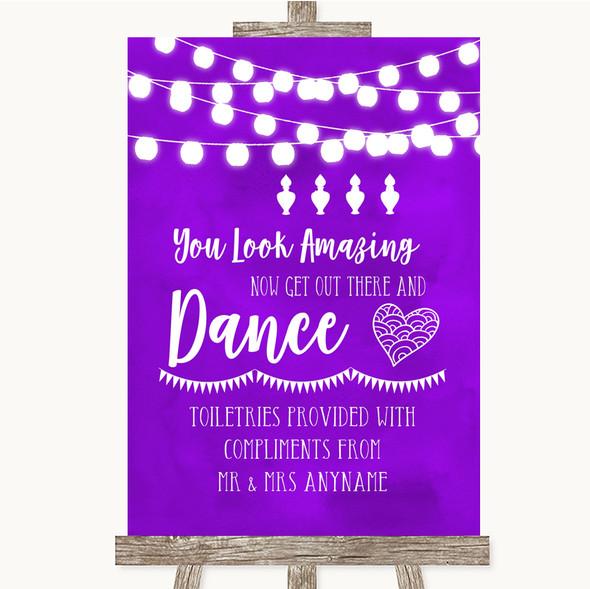 Purple Watercolour Lights Toiletries Comfort Basket Personalised Wedding Sign