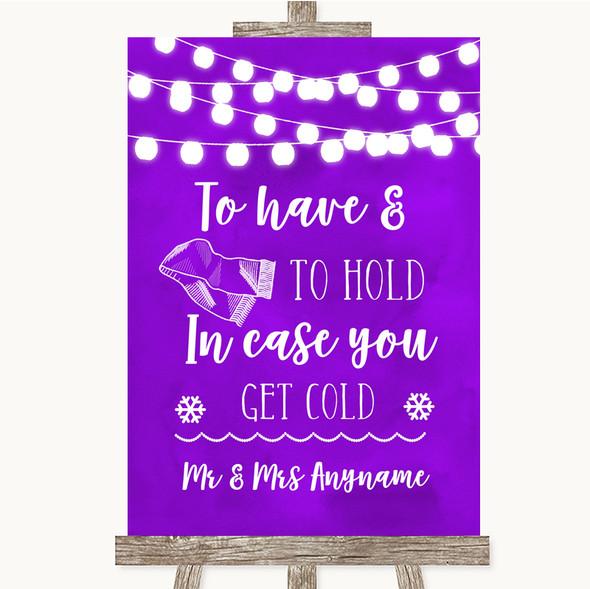 Purple Watercolour Lights Wedding Blanket Scarf Personalised Wedding Sign