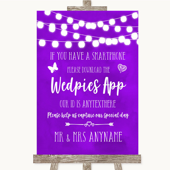 Purple Watercolour Lights Wedpics App Photos Personalised Wedding Sign