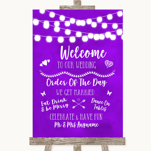 Purple Watercolour Lights Welcome Order Of The Day Personalised Wedding Sign