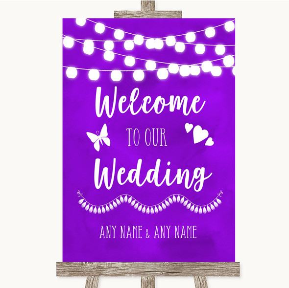 Purple Watercolour Lights Welcome To Our Wedding Personalised Wedding Sign