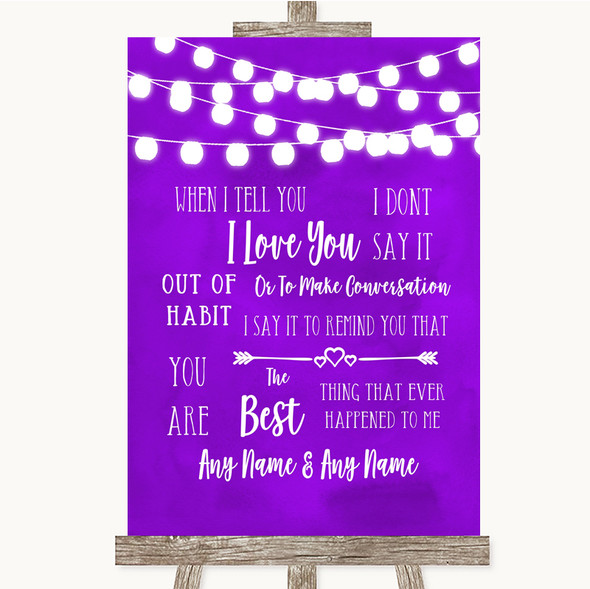 Purple Watercolour Lights When I Tell You I Love You Personalised Wedding Sign