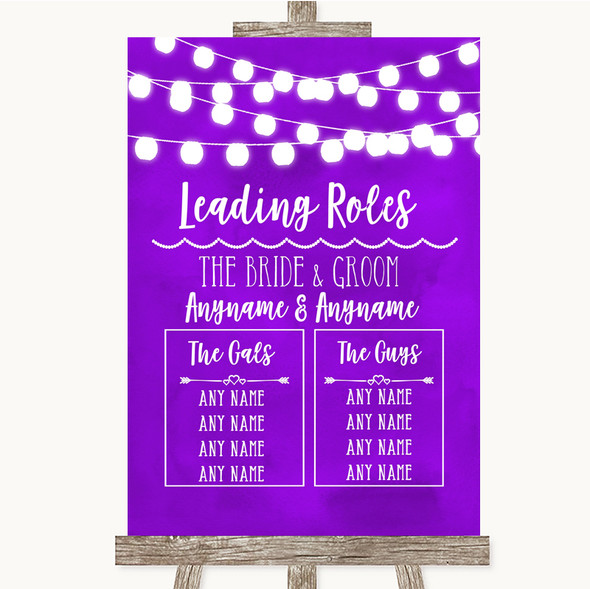 Purple Watercolour Lights Who's Who Leading Roles Personalised Wedding Sign