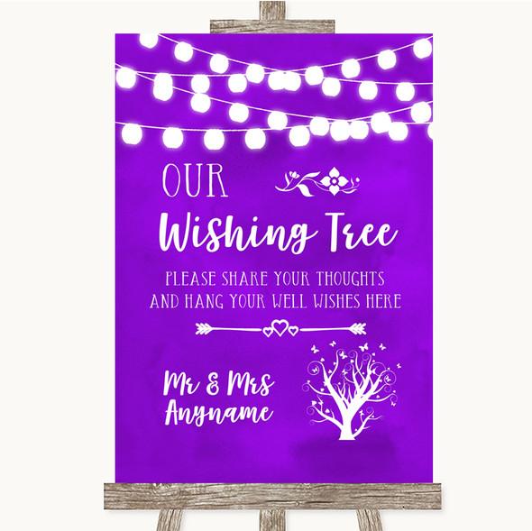 Purple Watercolour Lights Wishing Tree Personalised Wedding Sign