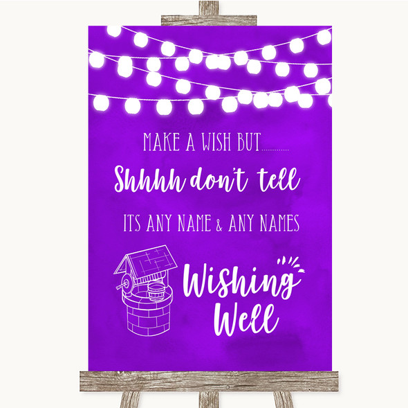 Purple Watercolour Lights Wishing Well Message Personalised Wedding Sign