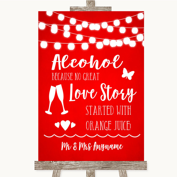 Red Watercolour Lights Alcohol Bar Love Story Personalised Wedding Sign