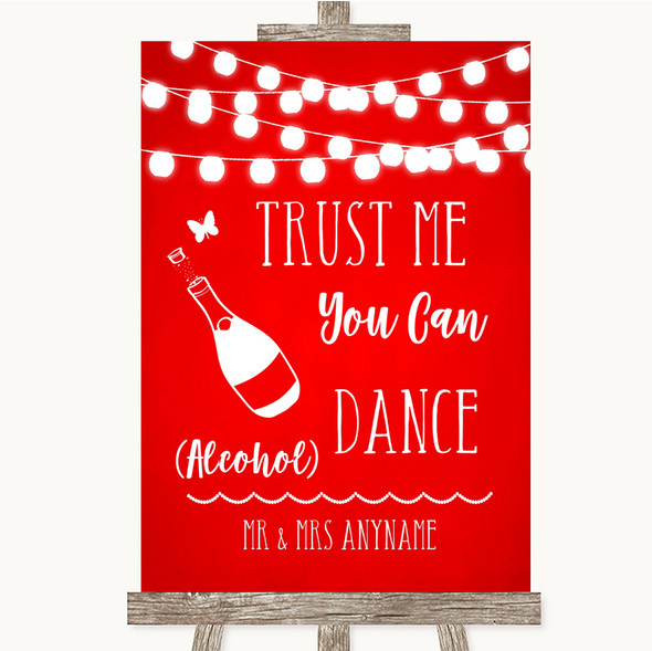 Red Watercolour Lights Alcohol Says You Can Dance Personalised Wedding Sign