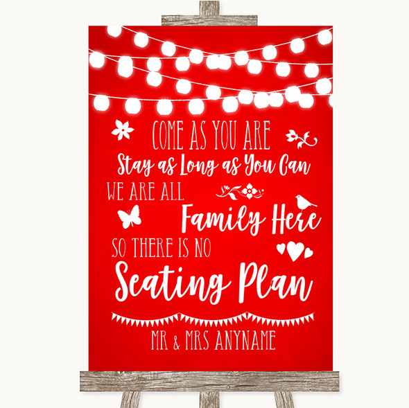 Red Watercolour Lights All Family No Seating Plan Personalised Wedding Sign
