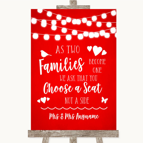 Red Watercolour Lights As Families Become One Seating Plan Wedding Sign