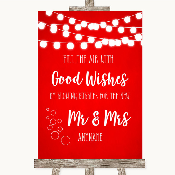 Red Watercolour Lights Blow Bubbles Personalised Wedding Sign