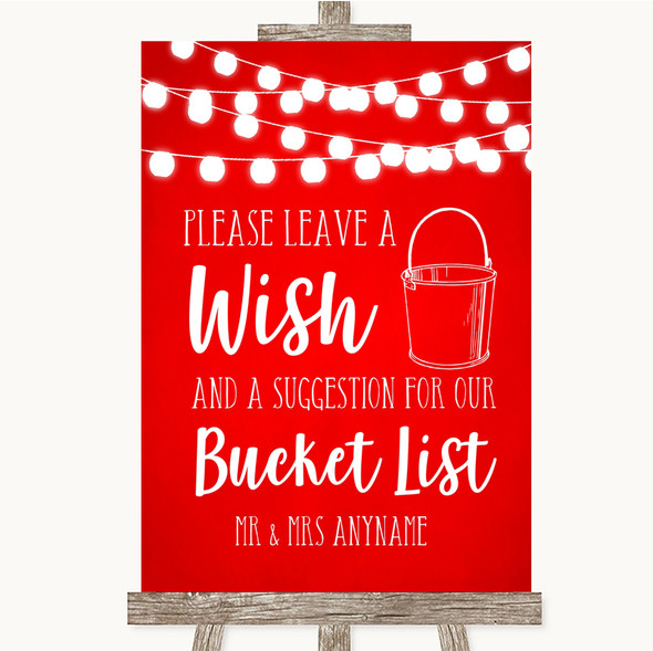 Red Watercolour Lights Bucket List Personalised Wedding Sign