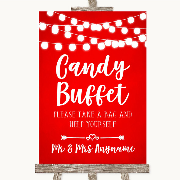 Red Watercolour Lights Candy Buffet Personalised Wedding Sign
