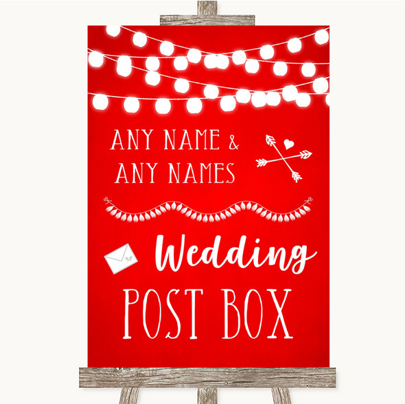 Red Watercolour Lights Card Post Box Personalised Wedding Sign