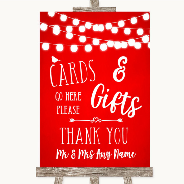 Red Watercolour Lights Cards & Gifts Table Personalised Wedding Sign