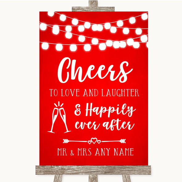 Red Watercolour Lights Cheers To Love Personalised Wedding Sign