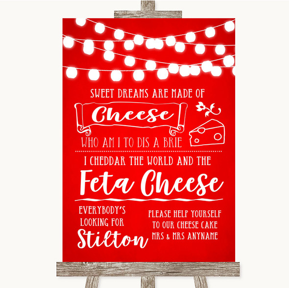 Red Watercolour Lights Cheesecake Cheese Song Personalised Wedding Sign