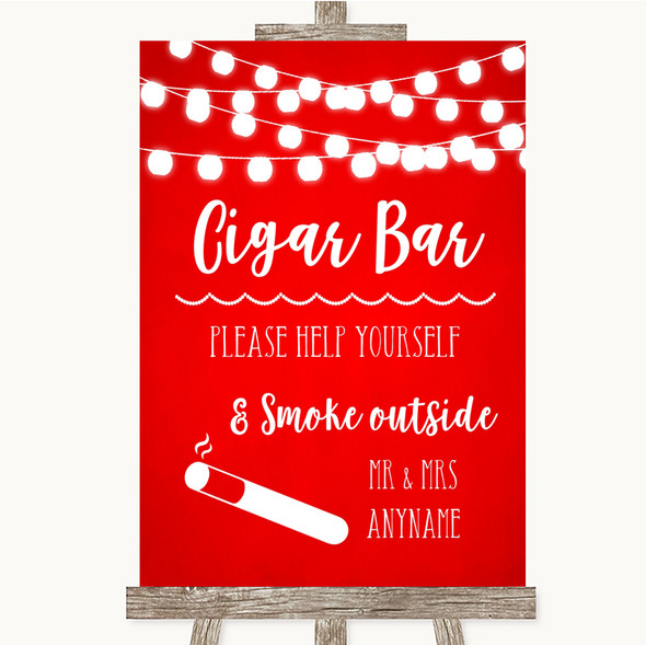 Red Watercolour Lights Cigar Bar Personalised Wedding Sign