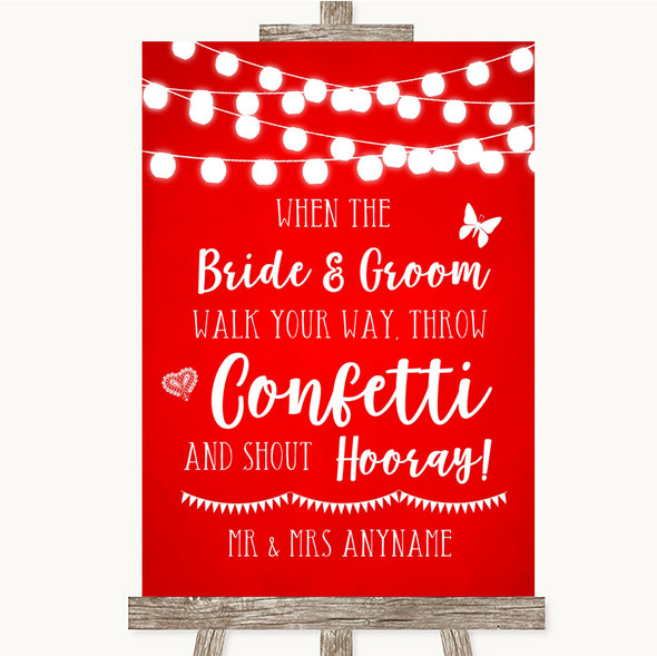 Red Watercolour Lights Confetti Personalised Wedding Sign