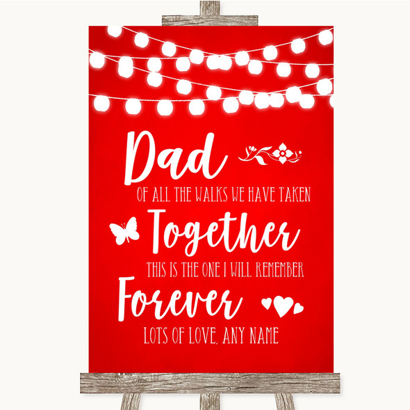 Red Watercolour Lights Dad Walk Down The Aisle Personalised Wedding Sign