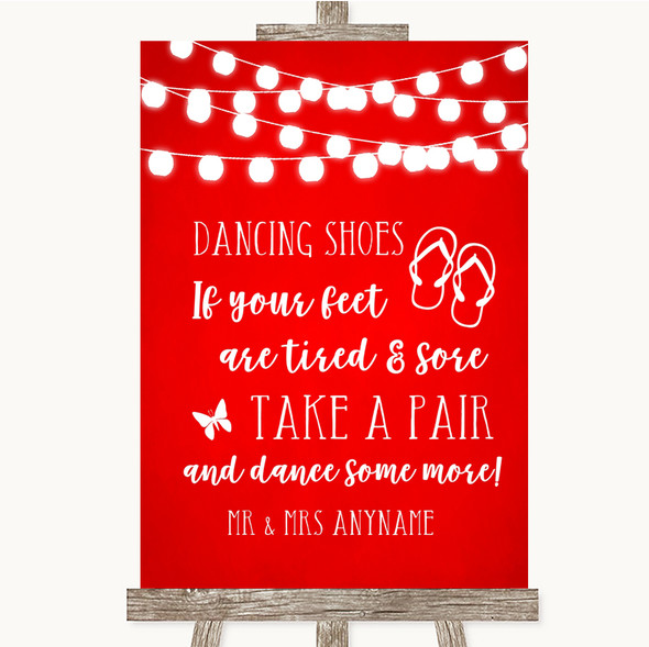 Red Watercolour Lights Dancing Shoes Flip Flops Personalised Wedding Sign