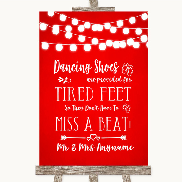 Red Watercolour Lights Dancing Shoes Flip-Flop Tired Feet Wedding Sign